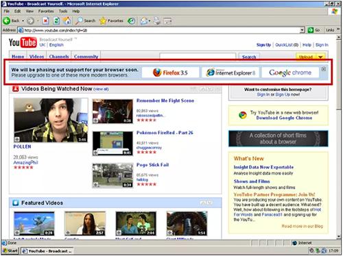 """YouTube âm thầm """"tẩy chay"""" Internet Explorer 6"""