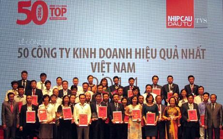 Công bố top 50 công ty kinh doanh hiệu quả nhất Việt Nam