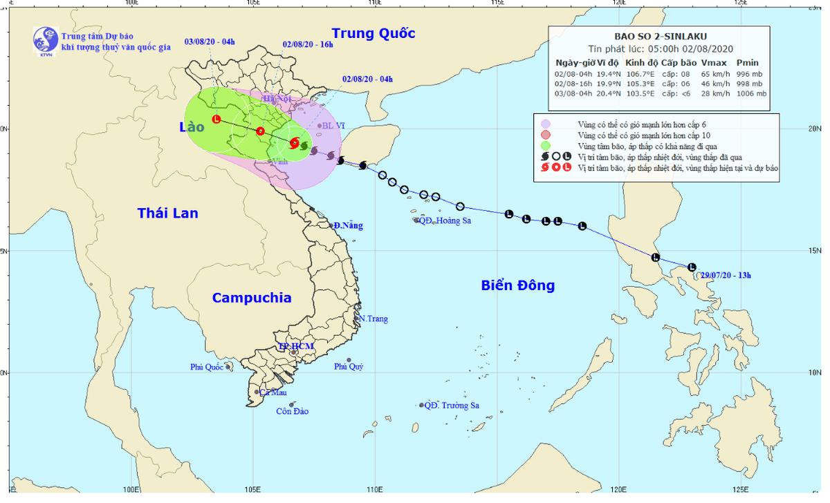 Bão số 2 áp sát các tỉnh từ Thái Bình đến Nghệ An, cảnh báo mưa dông, lốc, sét