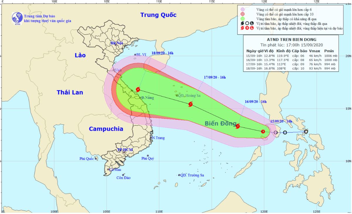 Áp thấp nhiệt đới trên biển Đông, có khả năng mạnh lên thành bão
