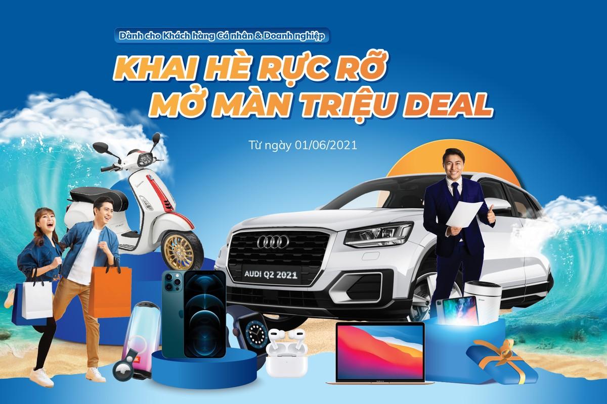 """Sacombank """"Khai hè rực rỡ - Mở màn triệu deal"""" với 4 chương trình quay số trúng vàng, điện thoại, xe máy, ô tô"""