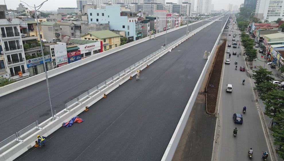 Cầu cạn Mai Dịch - Nam Thăng Long đã hoàn thành để thông xe vào 10/10