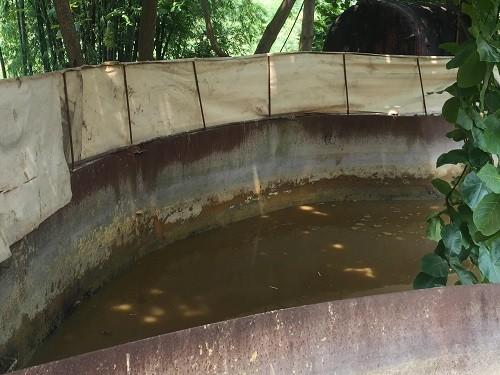 Bể chứa nước thải của Hapaco thời điểm bị phát hiện. Ảnh: N.H