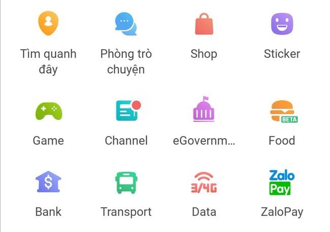 Các dịch vụ trên Zalo (ảnh chụp màn hình).