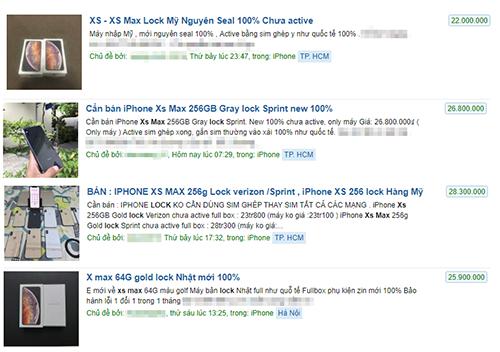 iPhone Xs lock được rao bán trên các trang rao vặt.