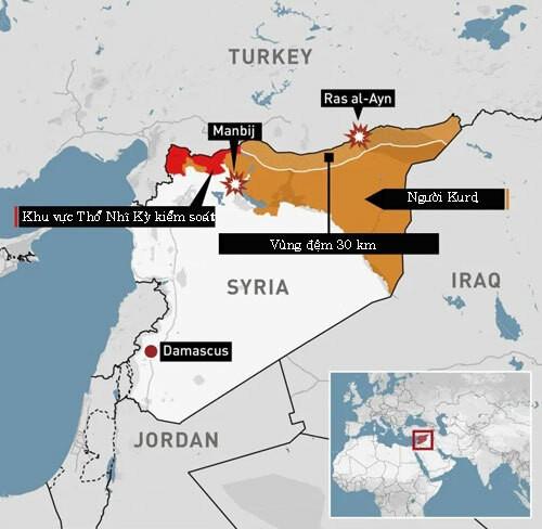 Khu vực kiểm soát của Thổ Nhĩ Kỳ và người Kurd ở đông bắc Syria. Bấm vào ảnh để xem chi tiết.Đồ họa: CBS.