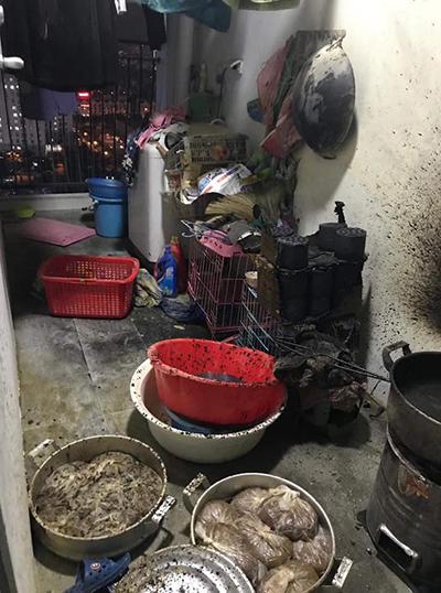 Hiện trường vụ cháy còn có hàng chục hộp thang tổ ong dự trữ. Ảnh: Thùy Linh.