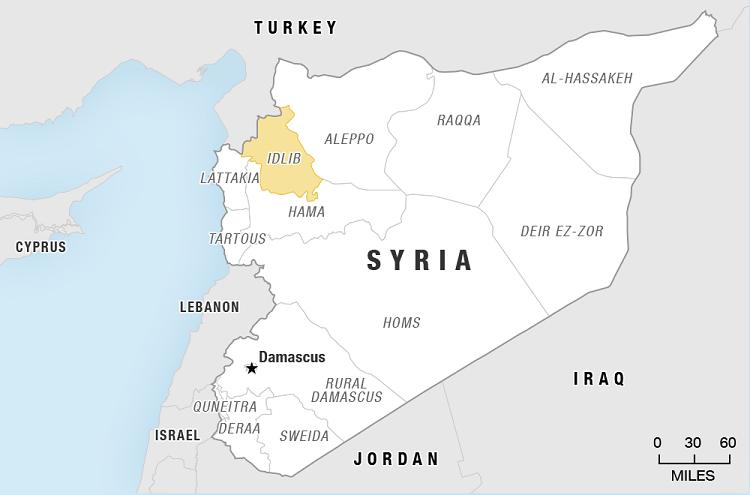 Vị trí tỉnh Idlib ở tây bắc Syria. Đồ họa: BBC.