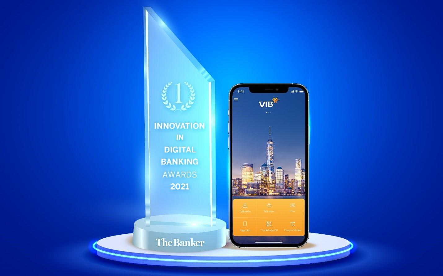 """The Banker trao giải """"Đổi mới sáng tạo trong lĩnh vực ngân hàng số năm 2021"""" cho VIB"""