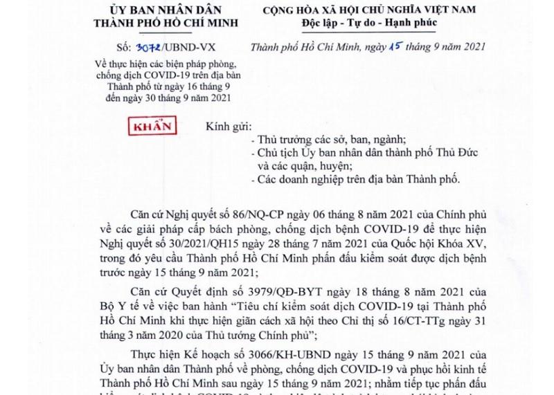 TP.HCM ra văn bản khẩn điều chỉnh cho phép mở lại một số hoạt động từ 16/9