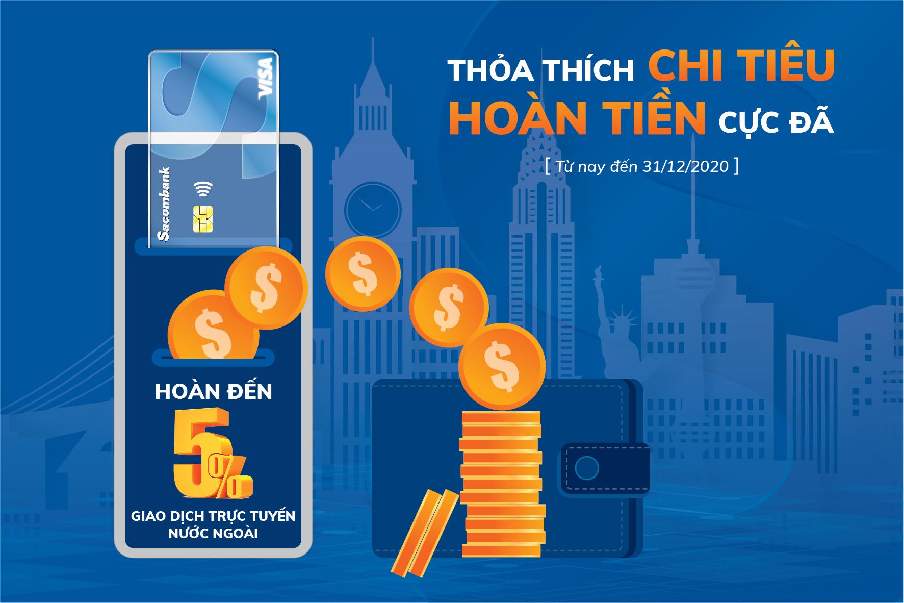 Hoàn tiền lên đến 3 triệu đồng khi giao dịch trực tuyến nước ngoài bằng thẻ Sacombank Visa