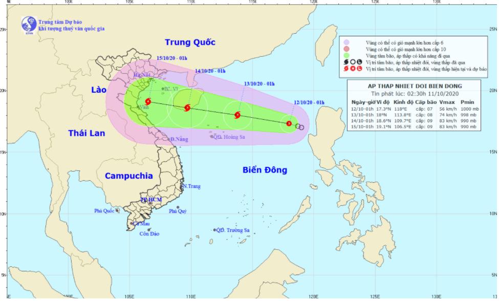 Áp thấp nhiệt đới mới lại xuất hiện trên biển Đông có khả năng mạnh lên thành bão