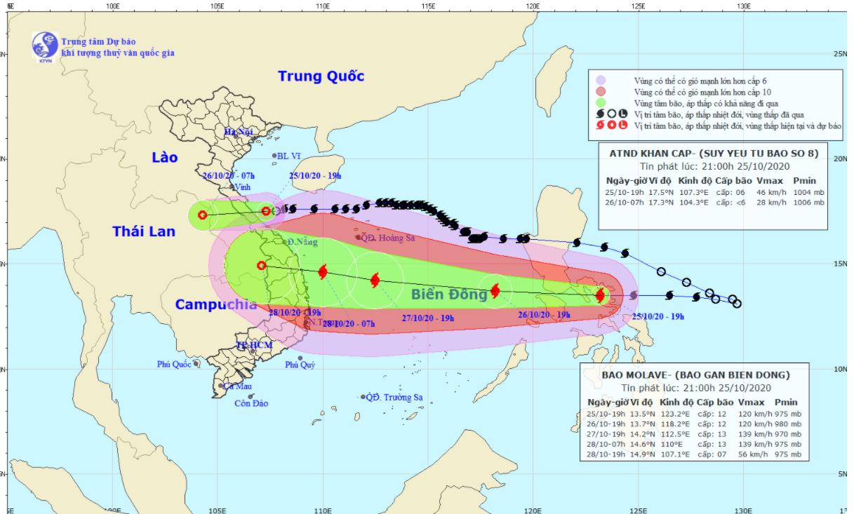 Bão số 8 suy yếu thành áp thấp nhiệt đới, bão số 9 giật cấp 15 hướng vào miền Trung