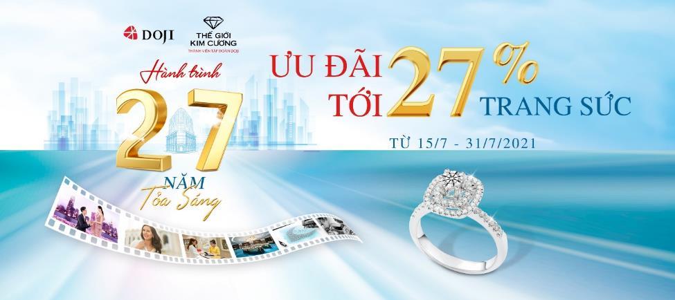 Săn sale chất ngất tới 27% cùng trang sức DOJI và Thế giới kim cương