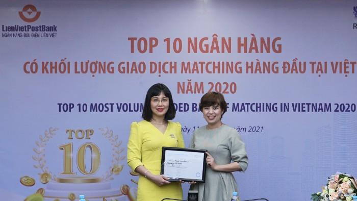 LienVietPostBank nhận giải thưởng top 10 ngân hàng có khối lượng giao dịch lớn nhất thị trường ngoại hối Việt Nam