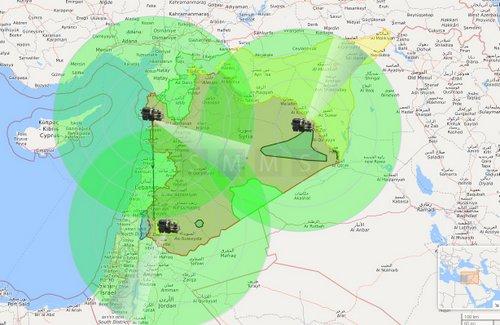 Khả năng bao phủ không phận Syria của các tổ hợp S-300. Đồ họa: Twitter.