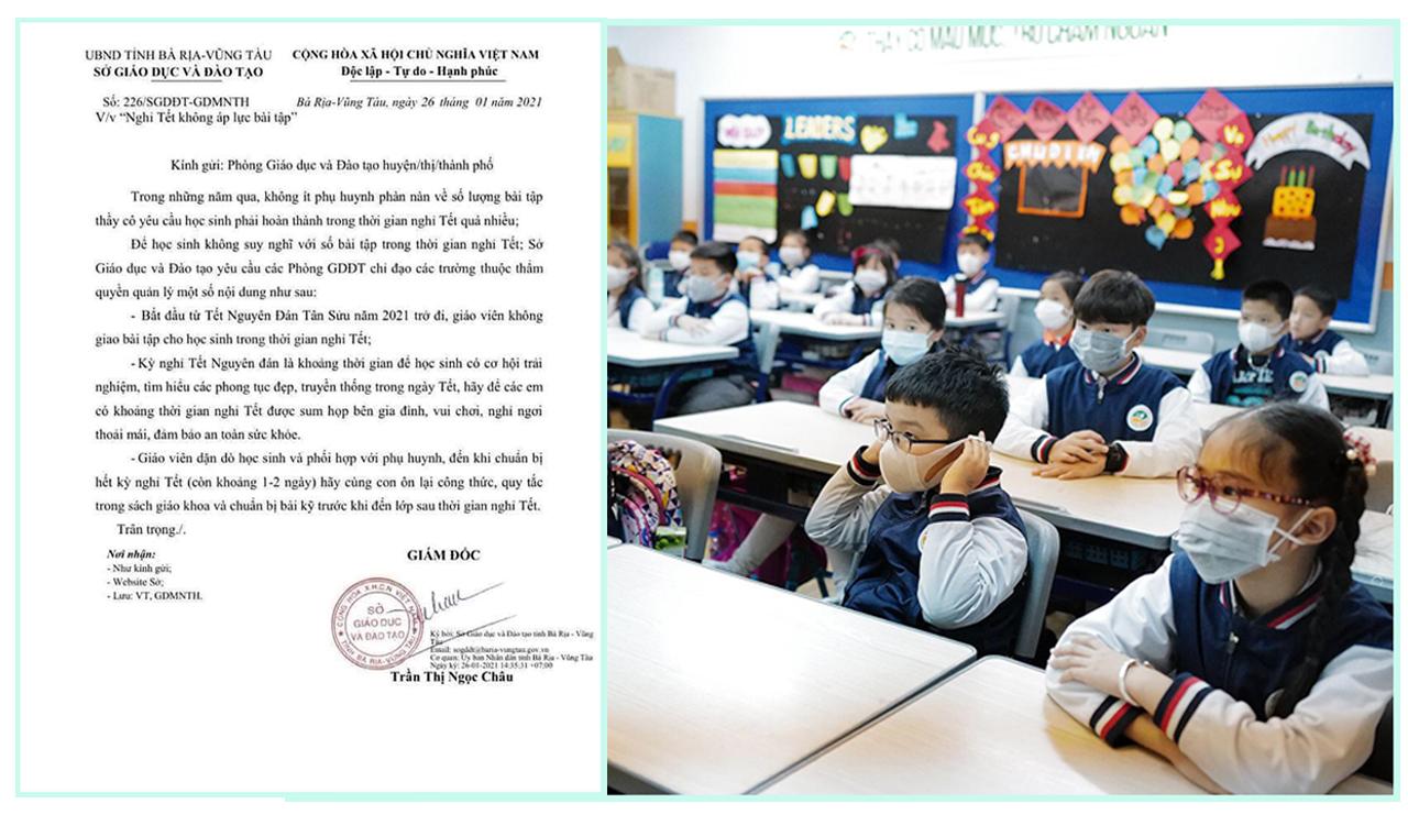 """Công văn """"Nghỉ tết không áp lực bài tập"""" của Sở Giáo dục Bà Rịa - Vũng Tàu được dư luận nức lòng ủng hộ"""