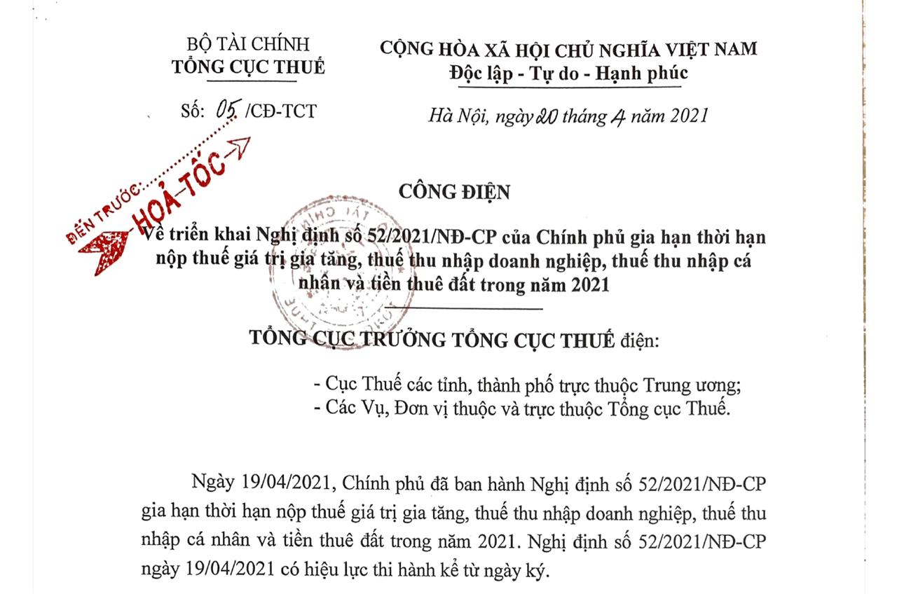 30/7 là hạn chót nộp giấy đề nghị gia hạn nộp thuế, tiền thuê đất theo Nghị định 52